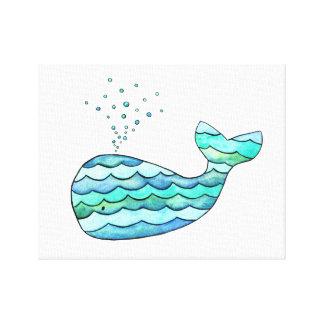 Wavy Whale Canvas Print