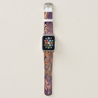 Wavy Woodgrain Monogrammed Apple Watch Band