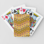 Wavy Yellow and Purple Circle Flowers Pattern Deck Of Cards