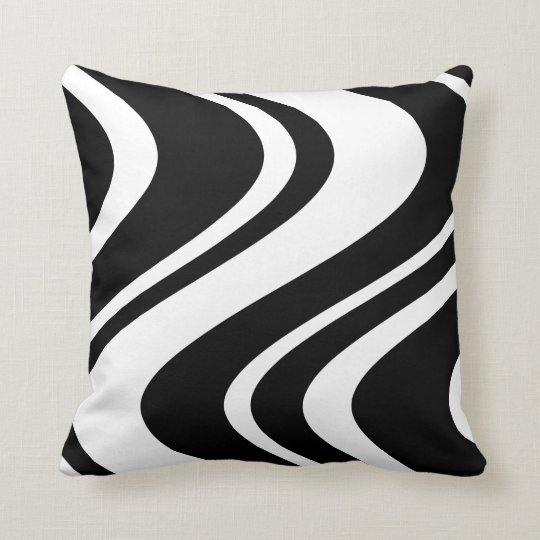 Wavy Zebra Stripe Pillow Black And White Zazzle Com