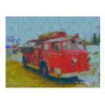 wawa old fire truck by hart post cards