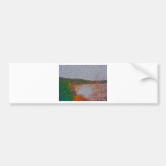 wawa waterfront painting by hart 2 bumper sticker