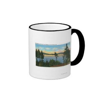 Wawbeek Club View of Upper Saranac Lake Ringer Coffee Mug