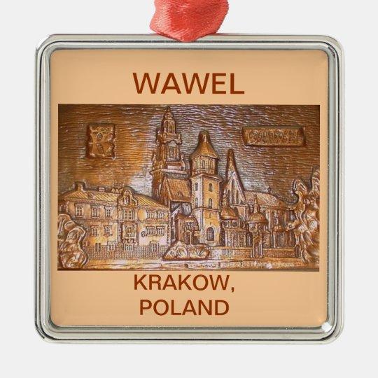 WAWEL CASTLE KRAKOW POLAND ON TAN BACKGROUND METAL ORNAMENT
