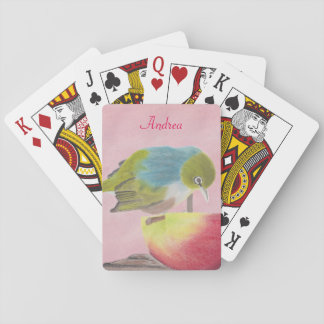 Wax eye bird drawing. playing cards