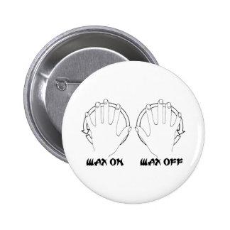 wax on karate pinback button