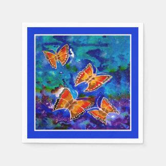 Wax Relief Butterflies (Blue Trim) Paper Napkins