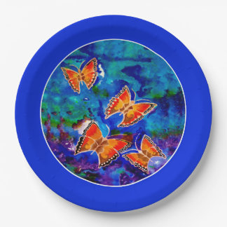 Wax Relief Butterflies (Blue Trim) Paper Plates 9 Inch Paper Plate