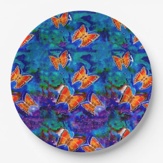 Wax Relief Butterflies Paper Plates 9 Inch Paper Plate