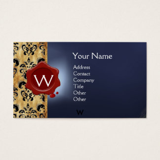 WAX SEAL DAMASK PARCHMENT  MONOGRAM blue red black Business Card