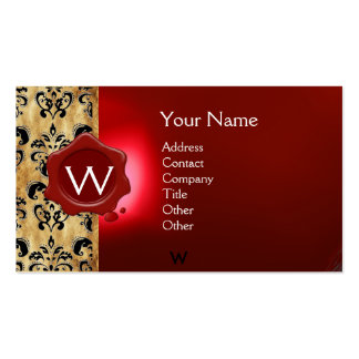 WAX SEAL DAMASK PARCHMENT MONOGRAM BUSINESS CARD