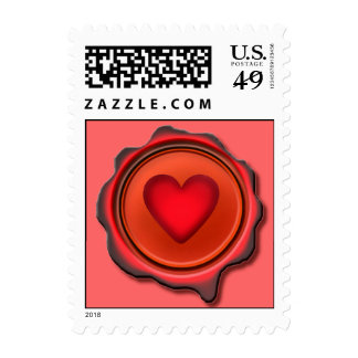 WAX SEAL HEART by SHARON SHARPE Postage Stamp