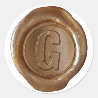 Wax Seal Monogram - Copper - Boulder G - Round Stickers