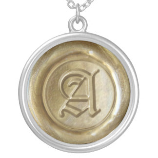 Wax Seal Monogram - Gold - Old English A - Round Pendant Necklace