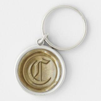 Wax Seal Monogram - Gold - Old English C - Keychain