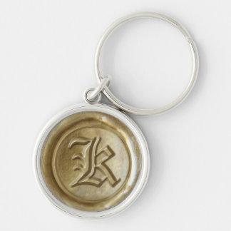 Wax Seal Monogram - Gold - Old English K - Keychain