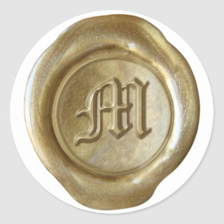 Wax Seal Monogram - Gold - Old English - Letter M Round Stickers