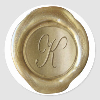 Wax Seal Monogram - Gold - Script K - Sticker