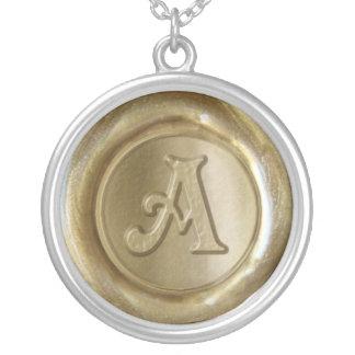 Wax Seal Monogram - Gold - Serifs A - Round Pendant Necklace