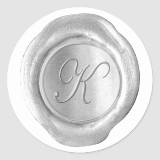 Wax Seal Monogram - Juah Silver - K - Stickers