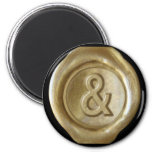 Wax Seal Monogram Magnet - Gold - Bold Style -