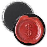 Wax Seal Monogram Magnet - Red - Bold -