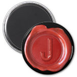 Wax Seal Monogram Magnet - Red - Bold Style -