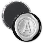 Wax Seal Monogram Magnet - Silver - Bold Style -