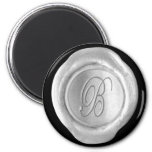 Wax Seal Monogram Magnet - Silver - Script Style -