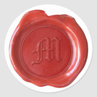 Wax Seal Monogram - Red - Old English - Letter M Sticker