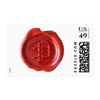 Wax Seal Monogram - Red - Old English Style P - Postage Stamp
