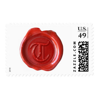 Wax Seal Monogram - Red - Old English Style T - Postage Stamp