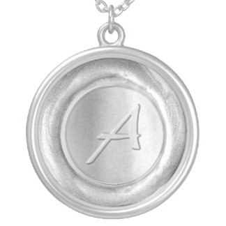 Wax Seal Monogram - Silver - Artistic A - Round Pendant Necklace