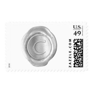 Wax Seal Monogram - Silver - Artistic C - Postage Stamp
