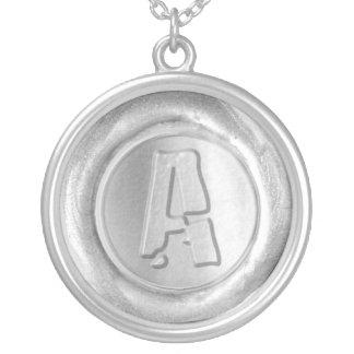 Wax Seal Monogram - Silver - Boulder A - Round Pendant Necklace
