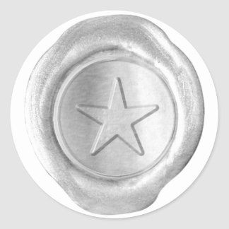 Wax Seal Monogram - Silver - Custom Star - Round Sticker