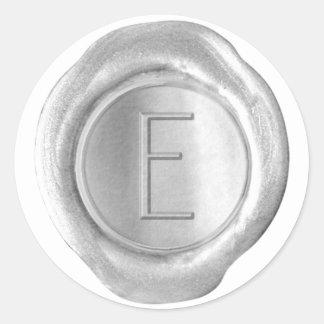 Wax Seal Monogram - Silver - ModernSlim E - Classic Round Sticker