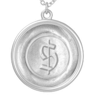 Wax Seal Monogram - Silver - Old English Dollar - Round Pendant Necklace