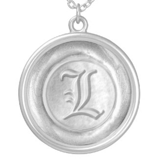 Wax Seal Monogram - Silver - Old English L - Round Pendant Necklace