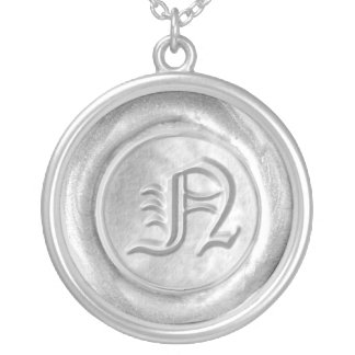 Wax Seal Monogram - Silver - Old English N - Round Pendant Necklace