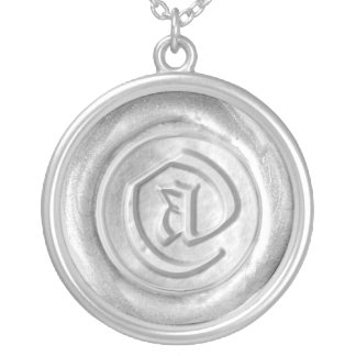 Wax Seal Monogram - Silver - Old English @ - Round Pendant Necklace