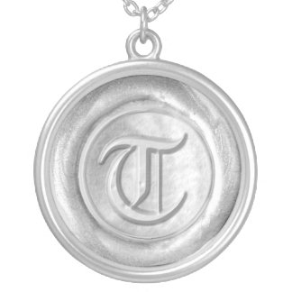 Wax Seal Monogram - Silver - Old English T - Round Pendant Necklace