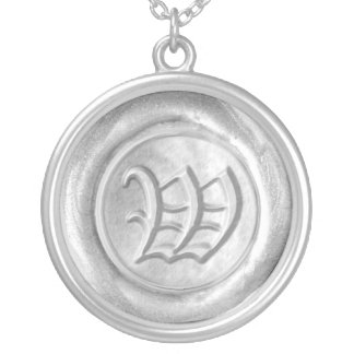 Wax Seal Monogram - Silver - Old English W - Round Pendant Necklace