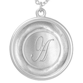 Wax Seal Monogram - Silver - Script A - Round Pendant Necklace