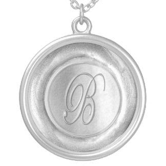 Wax Seal Monogram - Silver - Script B - Round Pendant Necklace