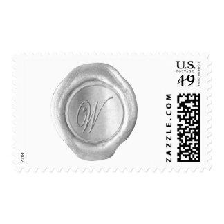 Wax Seal Monogram - Silver - Script W - Postage Stamp