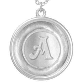 Wax Seal Monogram - Silver - Victorian A - Round Pendant Necklace
