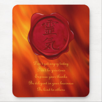 wax seal - REIKI & Precepts | fire red waves Mouse Pad