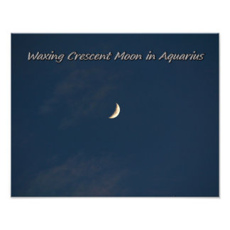 Waxing Crescent Moon In Aquarius Photo Print