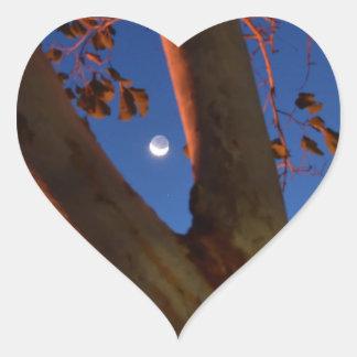 WAXING MOON AND GUM TREE QUEENSLAND AUSTRALIA HEART STICKER